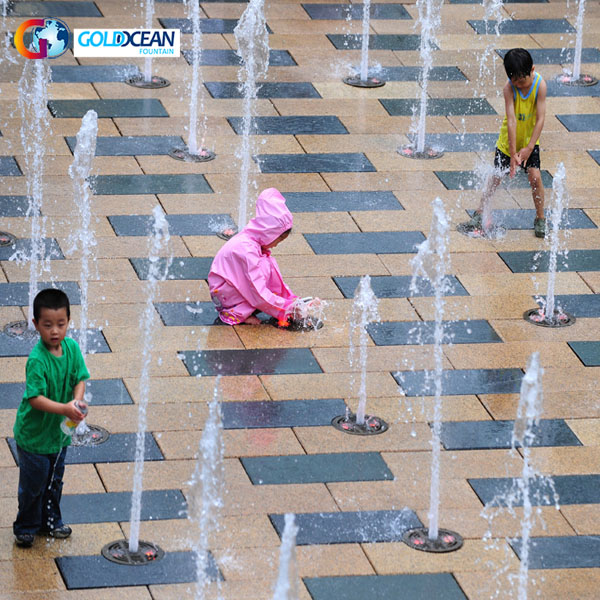Outdoor Child Playing Music Dry Fountain