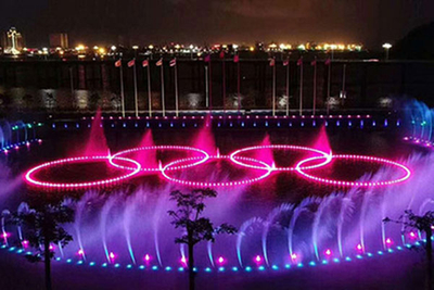 Outdoor Lake Colorful Music Dancing Fountain